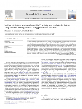 Lecithin cholesterol acyltransferase (LCAT) activity as a predictor for ketosis and parturient haemoglobinuria in Egyptian water buffaloes