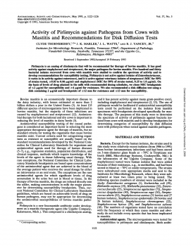 Activity of pirlimycin against pathogens from cows with mastitis and recommendations for disk diffusion tests.