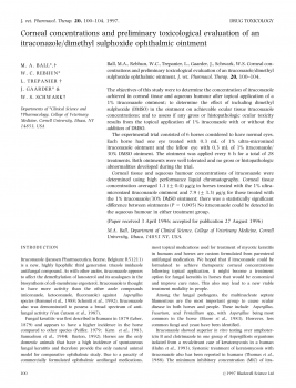 Corneal concentrations and preliminary toxicological evaluation of an itraconazole dimethyl sulphoxide ophthalmic ointment