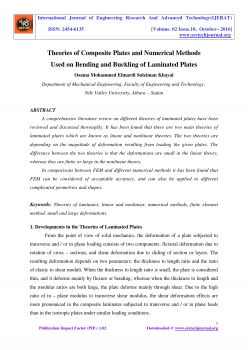 Theories of Composite Plates and Numerical Methods Used on Bending and Buckling of Laminated Plates