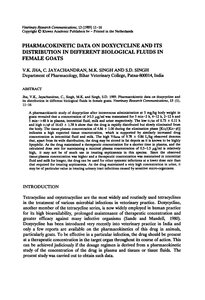 كتاب Pharmacokinetic data on doxycycline and its distribution in different biological fluids in female goats pdf