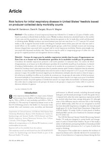 كتاب Risk factors for initial respiratory disease in United States' feedlots based on producer-collected daily morbidity counts pdf