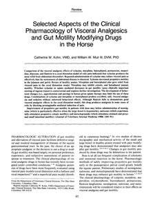 Pharmacology of Visceral Analgesics and Gut Motility Modifying Drugs in the Horse